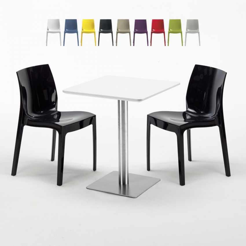 Tisch Quadratisch Weiß Tischplatte 60x60 2 Bunten Stühlen